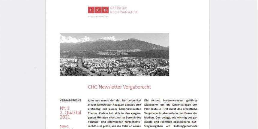 CHG-Newsletter Vergaberecht Nr. 3 erschienen — Kopie
